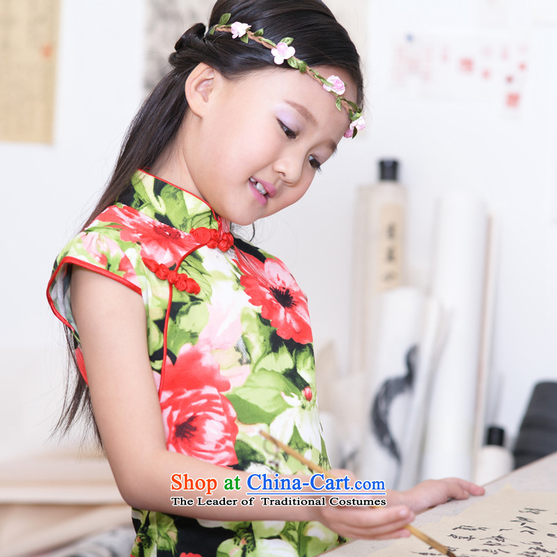 Ethernet-Summer Children pure cotton qipao girls Tang dynasty owara guzheng classical performances will wind laneway Tang dynasty dress Xinyu 150