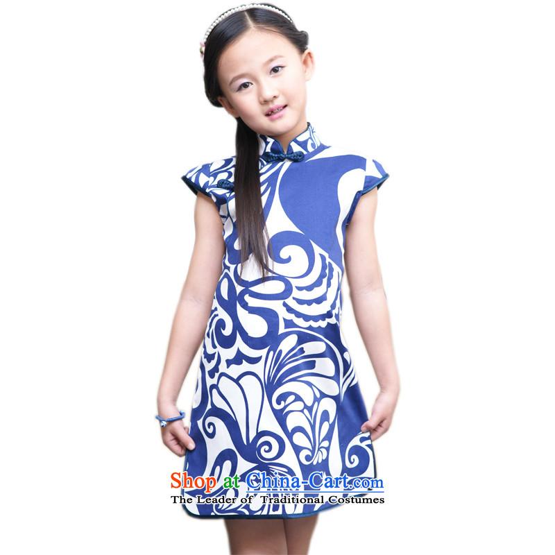 Ethernet-Summer Children qipao girls Tang Dynasty Pure Cotton Da Tong Zheng will national classical style qipao celadon Flower Girls dress Charlene Choi Yeon Celadon聽150