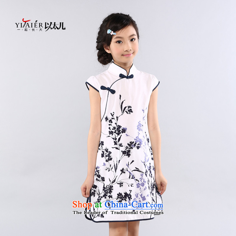 Ethernet-Pure Cotton Summer Children qipao girls Tang dynasty owara classical performances serving national qipao gown guzheng girls Hui Hui Celadon 150