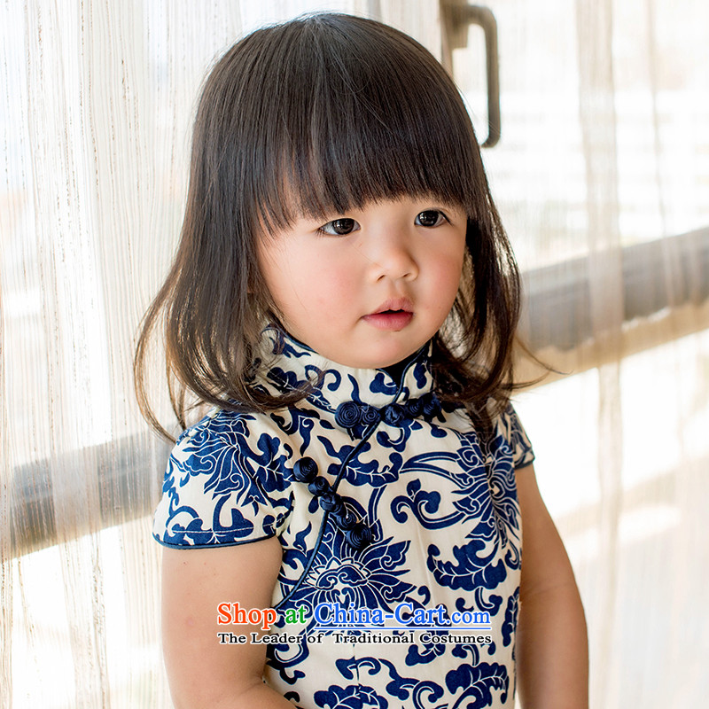Child Lok Wei spring and summer new child qipao Tang dynasty porcelain girls short-sleeved dresses pure cotton Chinese Antique baby skirt suits120