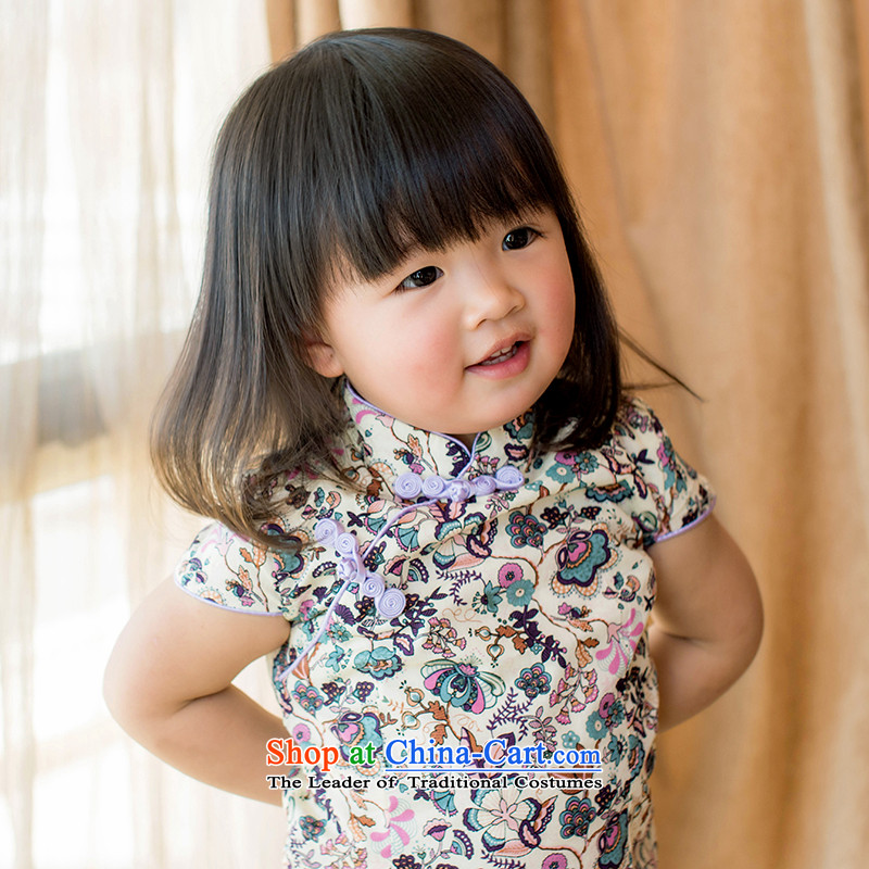 Child Lok Wei spring and summer children qipao Tang dynasty small saika girls short-sleeved dresses Chinese literature and art nouveau pure cotton dress suits your baby聽110