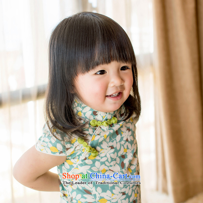 Child Lok Wei spring and summer children qipao Tang dynasty girls short-sleeved dresses pure cotton China wind arts retro baby skirt suits?100