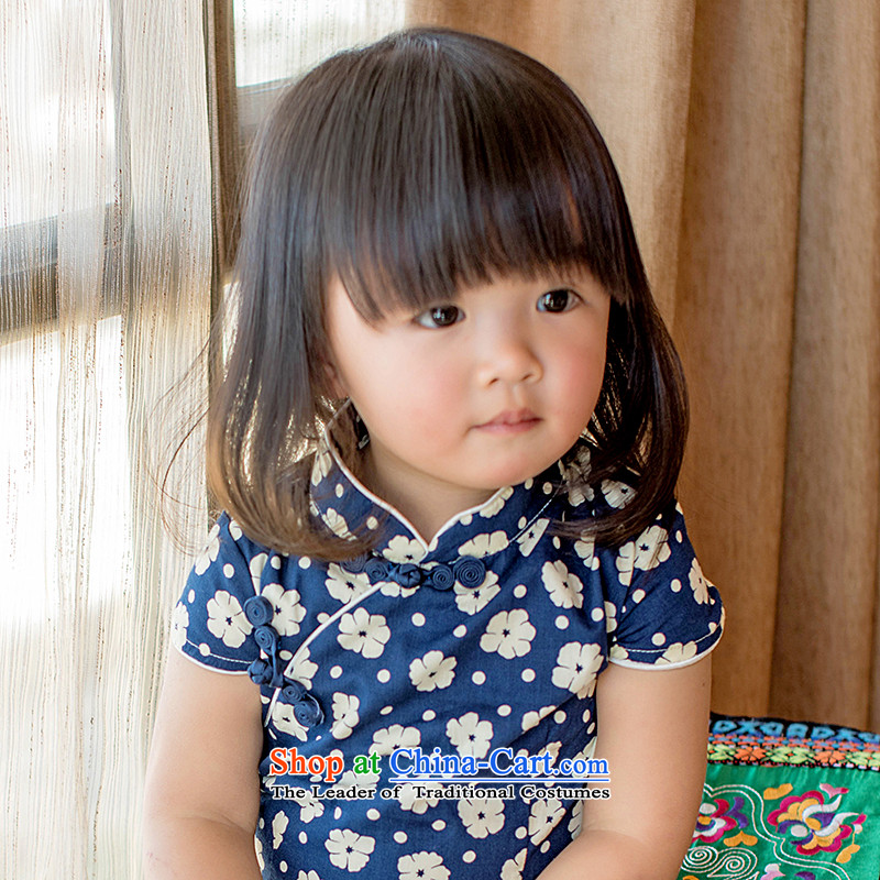 Child Lok Wei summer new child qipao Tang dynasty flower retro girls short-sleeved dresses pure cotton China wind arts baby blue skirt 120