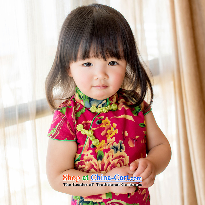 Child Lok Wei spring and summer new child qipao Tang Dynasty Large red cloth girls short-sleeved cotton linen dresses retro skirt suits Chinese120