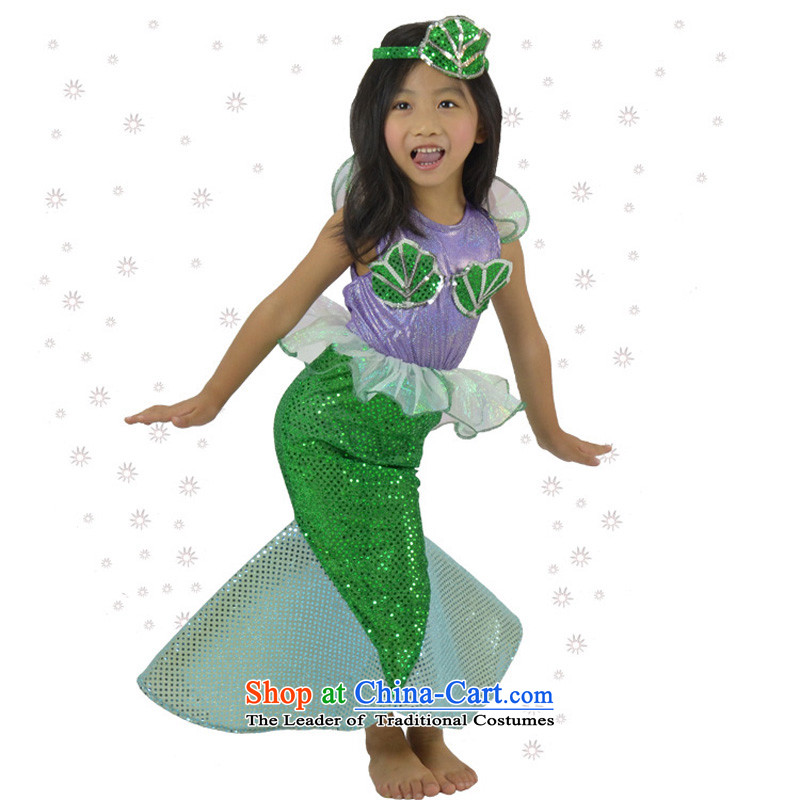 Fantasy Halloween costume party girls show apparel photography services dresses Party Role Play Mermaid Princess skirt with Head Ornaments 110cm(5-6 code)
