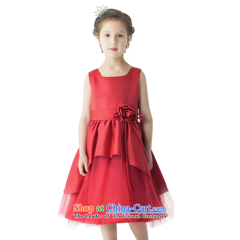 Po Jasmine children performances of the new service dress will dress wedding dress Princess Margaret Flower girl children's wear dresses moderator dress bon bon skirt dance services for high-end custom wine red 140 - chest waist 71 74.