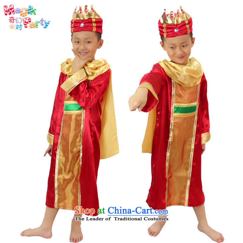 Fantasy party, the Bangwei clothing fashions show the role play kindergarten Photographic Dress prince King small red dress uniform?130cm_9-10 code_