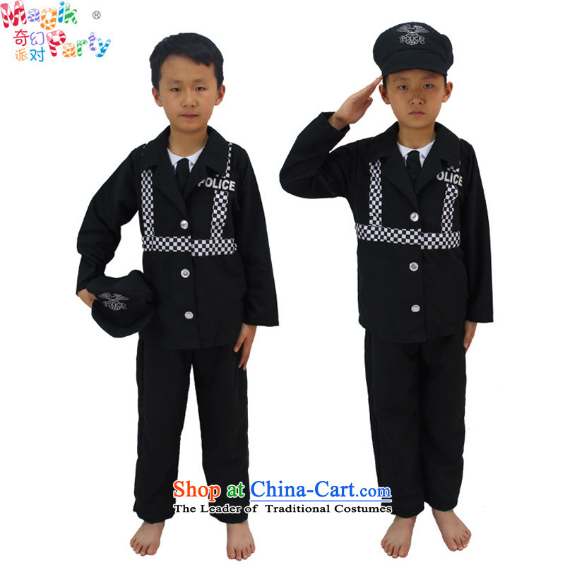 Fantasy Party festival costumes boys birthday gift boy primary schools dress role play firemen police uniform black 120cm(5-6 code)