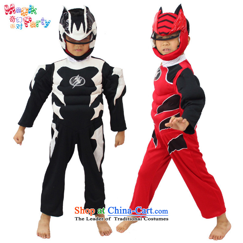 Fantasy Party festival costumes Boys School performance apparel masquerade clothing iron man duplex Superman red - black two can penetrate?130cm_9-10 code_