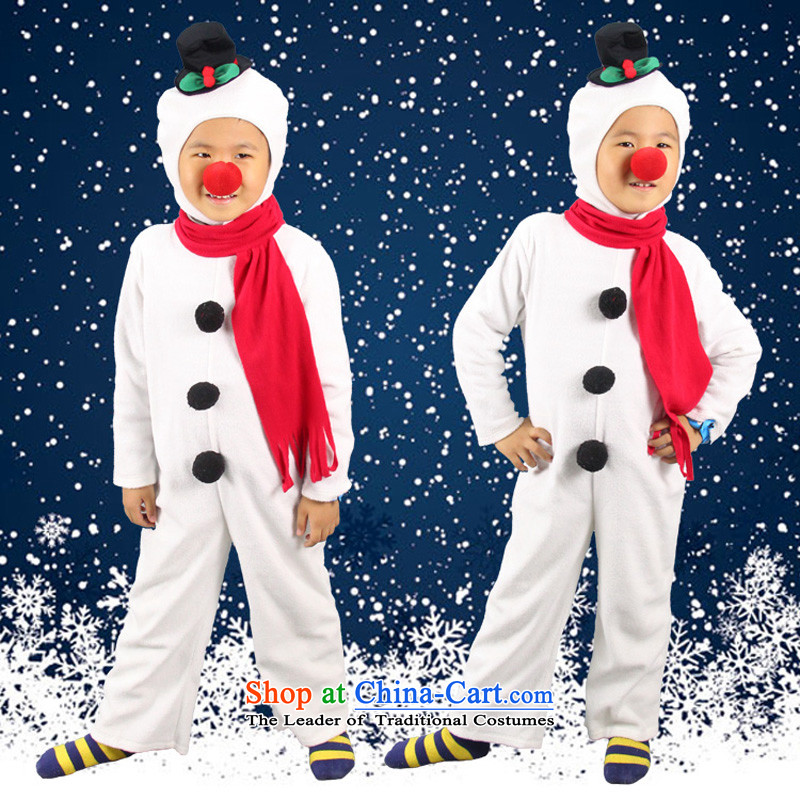 Fantasy Party Christmas clothing to boys and girls show apparel role play kindergarten red nose145cm11-12 WHITE SNOWMAN code