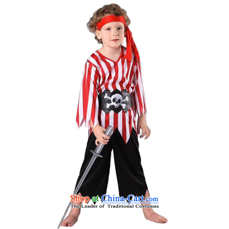 Fantasy Party festival costumes kindergarten masquerade clothing master role play boys between red and white with pirates terms130cm