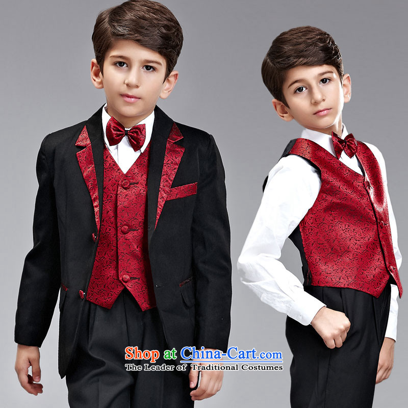 Recalling that small children Vicki disarmament suits Wedding sets suit Flower Girls dress boy students stage performances Korean clothing children s black and red suit?155-165cm recommendation 16 Code