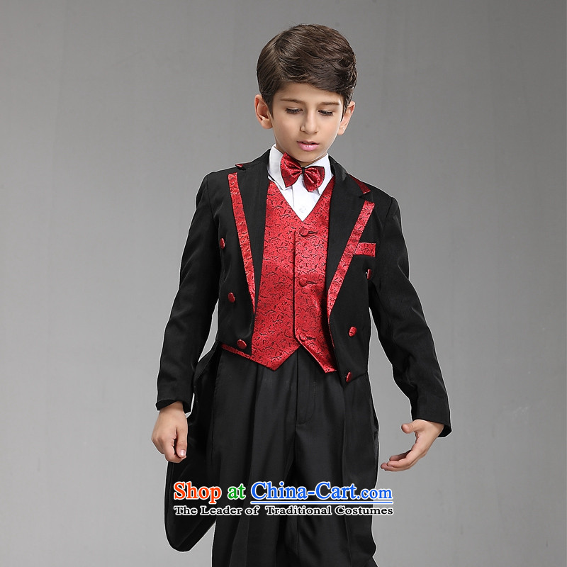 Recalling that disarmament Ms Audrey Eu children frock coat Flower Girls dress boy students under the auspices of the magician of the Stage large black red upscale frock coat 145-155cm recommendation 14 Code