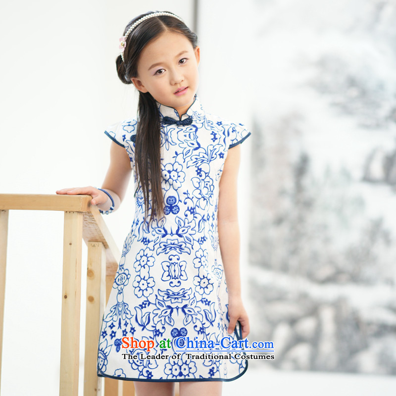 Ethernet-Pure Cotton girls Tang dynasty guzheng Guqin Show Services Summer Children qipao insignificant celadon insignificant celadon聽160