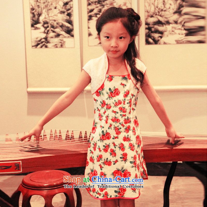 Ethernet childcare leave two pure cotton improved version of girls for children small shawl qipao show service Tang dynasty China wind Mudan summer language聽160