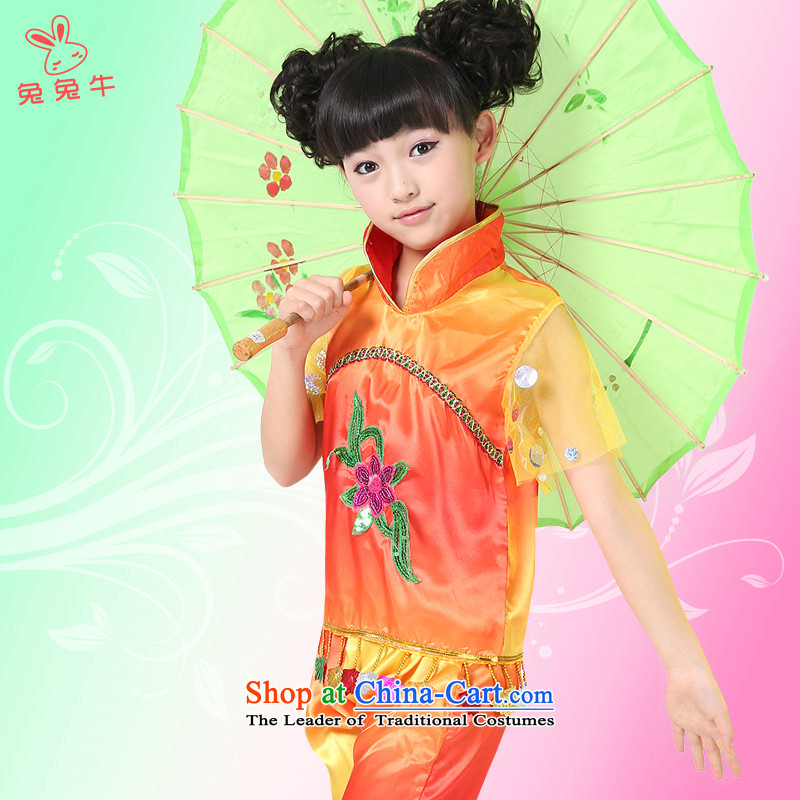 The United States and lead the international children cow ornaments costumes girls dancing skirt Children Dance Services early childhood costumes and red140cm
