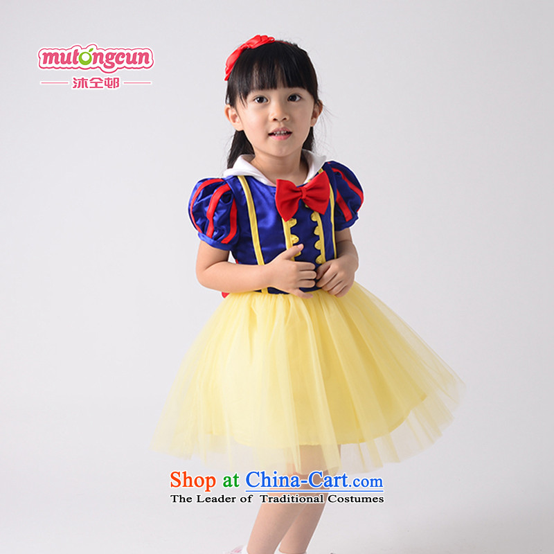 Bathing in the estate of the colleagues of the girl child and of children's wear skirts will dress short-sleeved snow white dress children dress bon bon skirt hosted a dinner dress dresses cosplay figure 130cm grants red hairbands and adjust the Ribbon