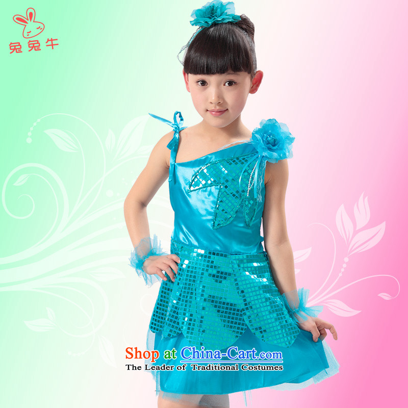 Rabbit and cattle children dance skirt girls Latin dance show services to Head Ornaments jewelry dress dances clothing Blue160