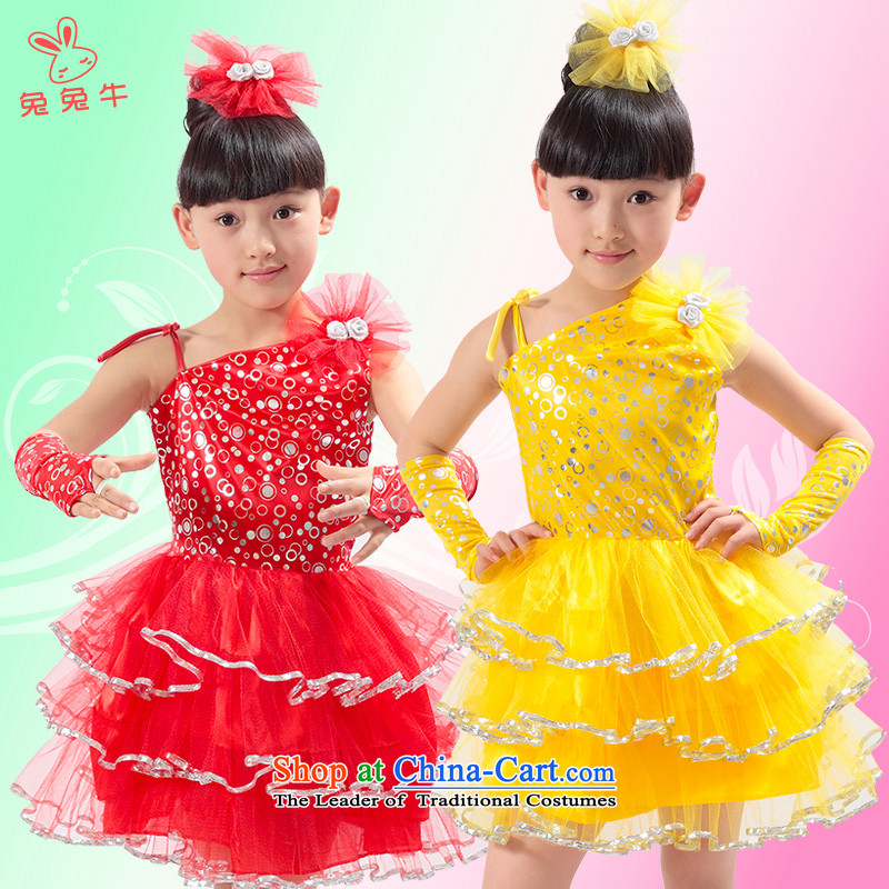 Rabbit and cow costumes girl children dance skirt with ornaments performances of early childhood services Latin peoples modern dress in red 120