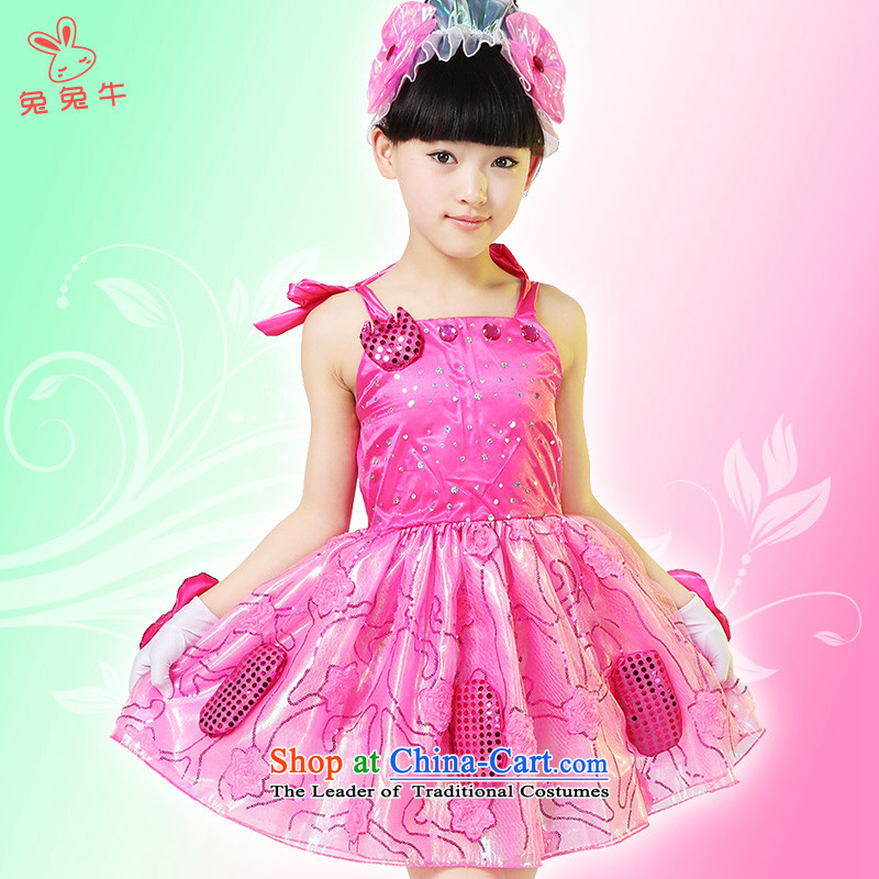 61. Children will be yours with a small child care i have a little hand dance clothing dual girls costumes of 110cm, Red