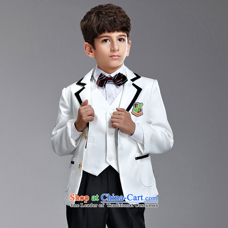 Ms Audrey Eu children's wear boys that suit Small Flower Girls dress Korean students with children wedding-dress boys suits emblazoned with the black border around the edge of the White on black suit counters genuine white black border 145-155cm recommend