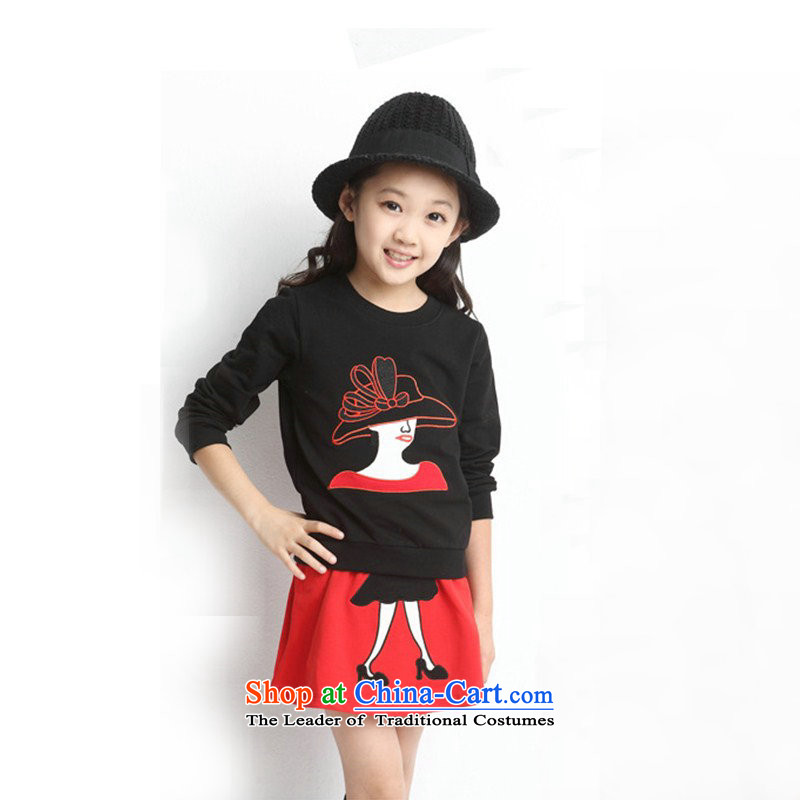 The girl child Dress Shirt + Princess skirts children dresses 2015 new children's wear will fall of black 150 yard 140cm tall recommendations