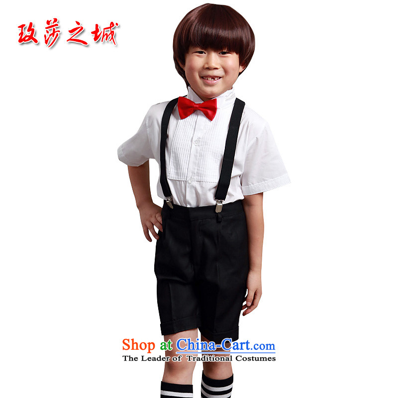 The boy summer performances dress Kit Flower Girls in trousers shorts summer black trousers, white ground blue short-sleeved shirt pink with LED backlight white short-sleeved shirt knot + black trousers. + strap + tie 150 (Spot)