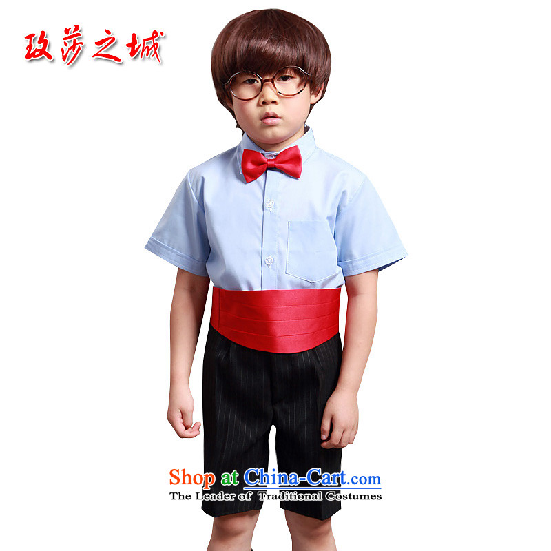 The boy short of dress Kit Flower Girls in trousers shorts summer performances streaked with black trousers, white ground blue short-sleeved shirt pink with girdles blue collar short-sleeved shirt + black bars in trousers?150 (Spot)