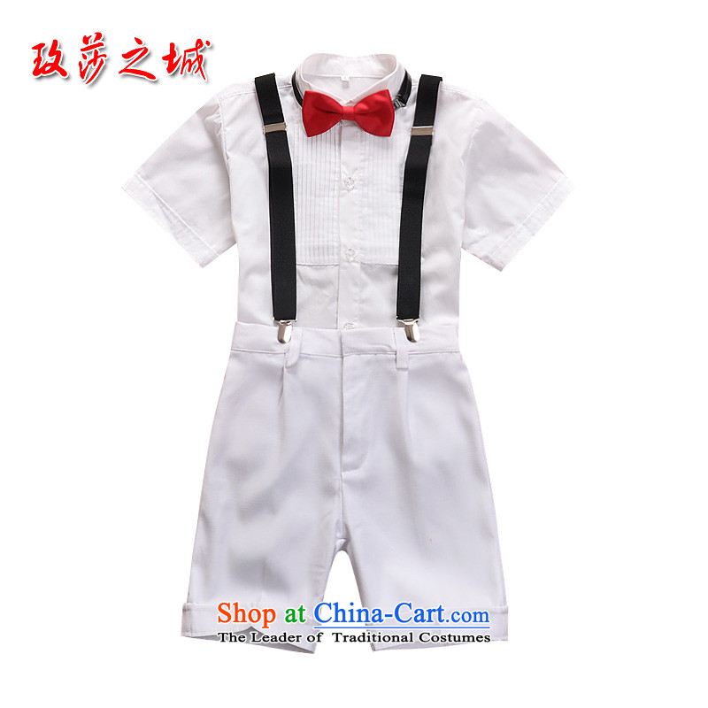 The boy summer performances dress Kit Flower Girls in trousers shorts summer white trousers, white ground blue short-sleeved shirt pink with LED backlight white short-sleeved shirt knot + white trousers. 150 (Spot)