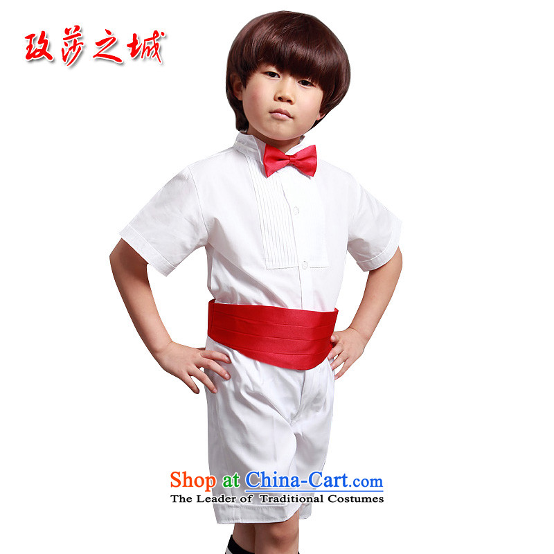 The boy summer performances dress Kit Flower Girls in trousers shorts summer white trousers, white ground blue short-sleeved shirt pink with girdles collar and white short-sleeved shirt + white trousers.140 (Spot)
