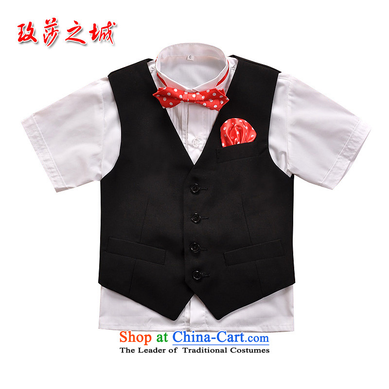 The boy dress Kit School Section 61 children show competition shorts dress male Flower Girls summer black dress, a white shirt, black black trousers, black聽150 _Spot_