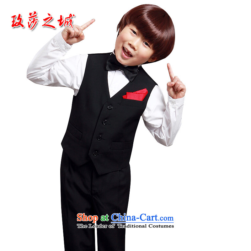 Kids Pure Black Point, a boy performances at shoulder children performances small vest soft palace silk fabric can be tailored black