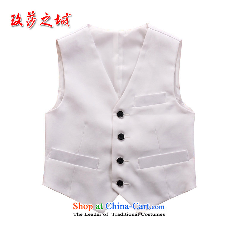 Kids pure white point angle, a boy performances at shoulder children performances small vest soft palace silk fabric can be tailored white waistcoat white140 (Spot)
