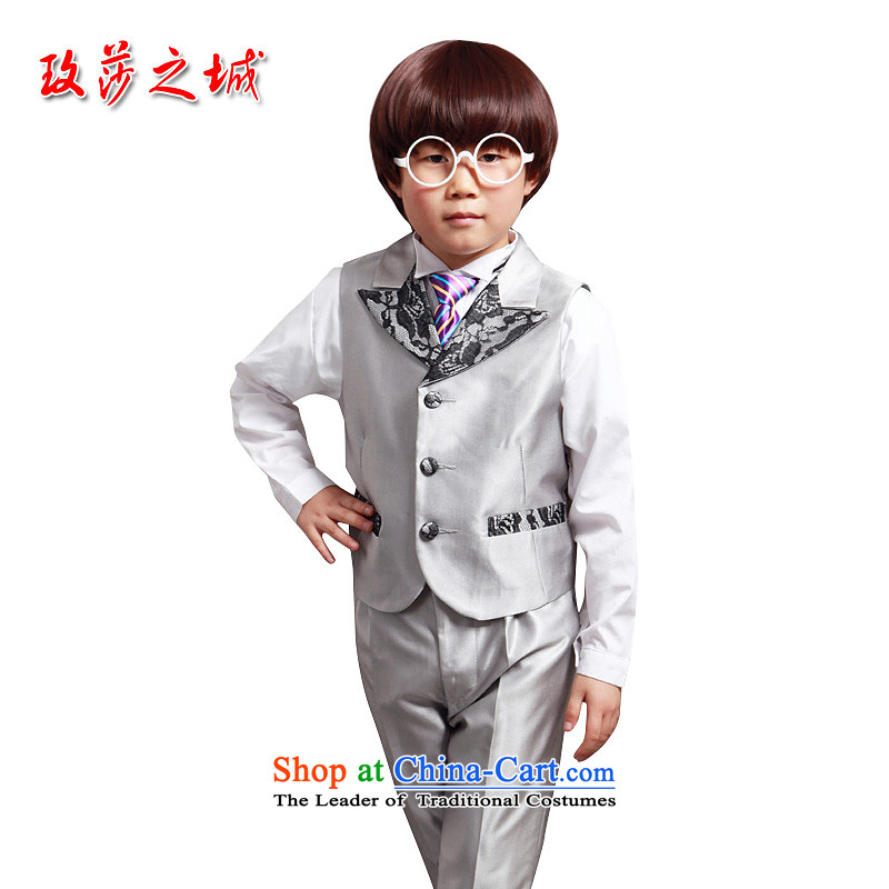 Kids gray vest Korean Kampala shoulder lapel lace small vest with silver hosted a concert 3, a silver gray150 (Spot)
