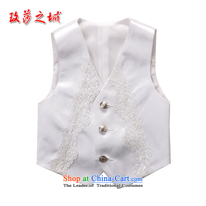 The Korean version of the children, a dress a student-led shows small vest men Flower Girls wedding with Kampala shoulder the white material imports reflective lace white pink white 140 (Spot)