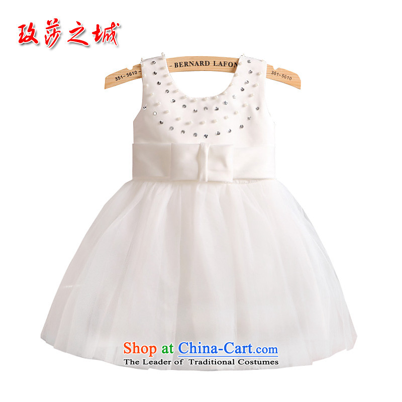 White Princess skirt flower girl female wedding dress, the Bangwei performances clothes White Satin Poster material combination gauze back 3 Bow Tie Design White140