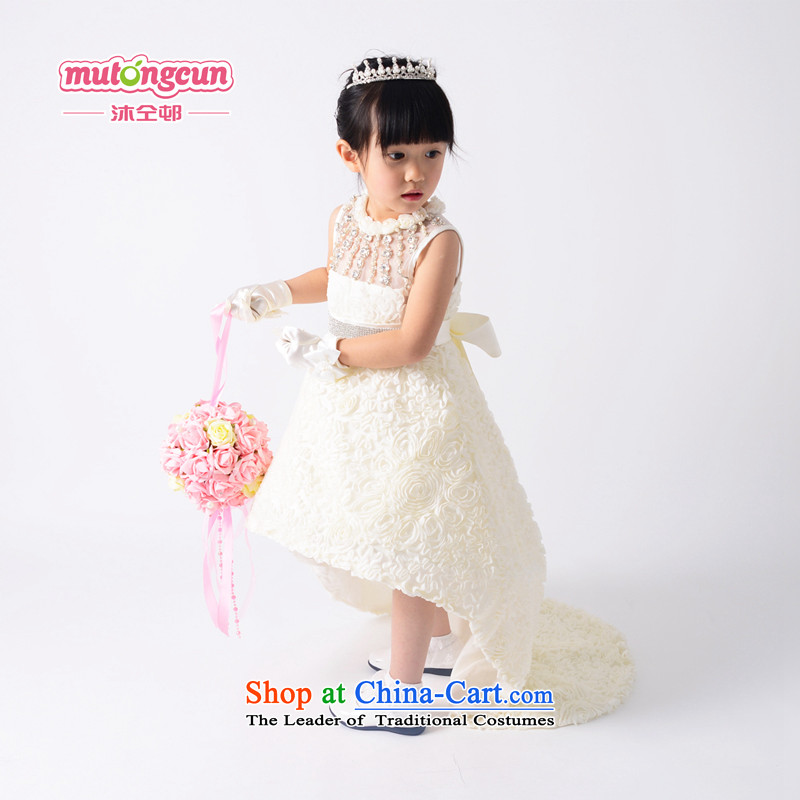 Bathing in the estate children of the colleagues wedding dress girls dress princess skirt Flower Girls skirts and Mei long skirt wedding dress bon bon go show m White 150cm