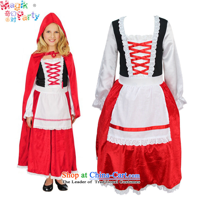 The fantasy of the girl child, children were clothing will play for gathering service photography costumes masquerade costumes of Little Red Riding Hood, red135cm(9-10 code)