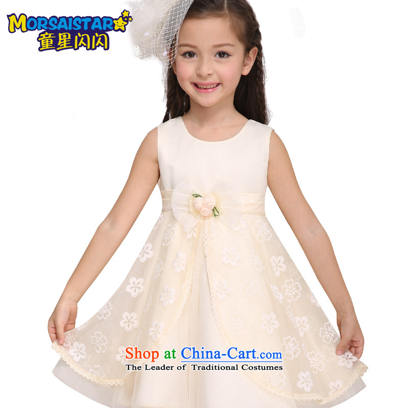The sparkling waters of children's wear Tong Xing 2015 girls princess skirt CUHK girls dress children bon bon skirt Flower Girls wedding dress skirt beige butterfly double swing princess skirt聽160
