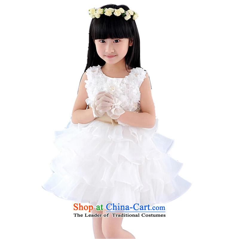 The property has properties speaking children wedding dress will 2015 girls Korean dresses Flower Girls dresses princess children wedding dress Evening Compere dress white130cm
