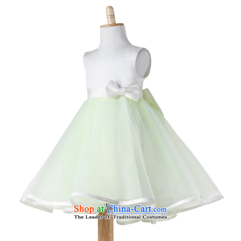 Po Jasmine children show services will dress Flower Girls dress girls princess skirt dresses dress bon bon skirt ivory + Green 90 up to 53 custom of chest