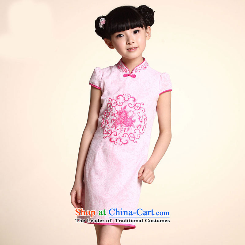 Embroidered Tang dynasty porcelain cheongsam pink 160