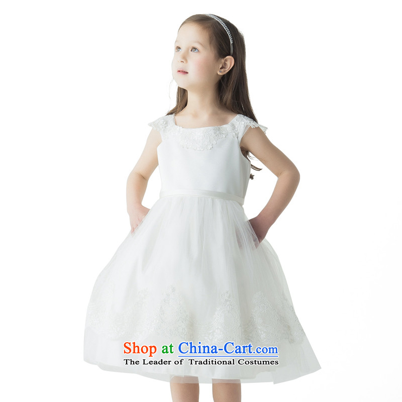 Po Jasmine children dress child princess skirt girls dress skirt Flower Girls will VISCOSE SATIN dress heavy industry stereo embroidered dress edge white聽140 - chest 74 Custom_