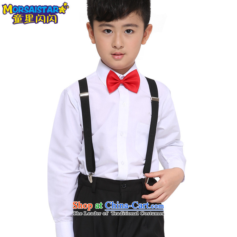 Children will serve student performances choral clothing autumn long-sleeved clothing boy children dance Flower Girls dress C black trousers, white long-sleeved 6 + 140 piece kit