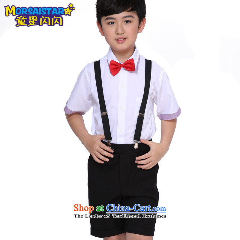 Child star shining boy dance performances to primary and secondary school students to serve Children Chorus of the service package your baby 6 piece shorts + purple-collar short-sleeved shirt 6 piece set 150
