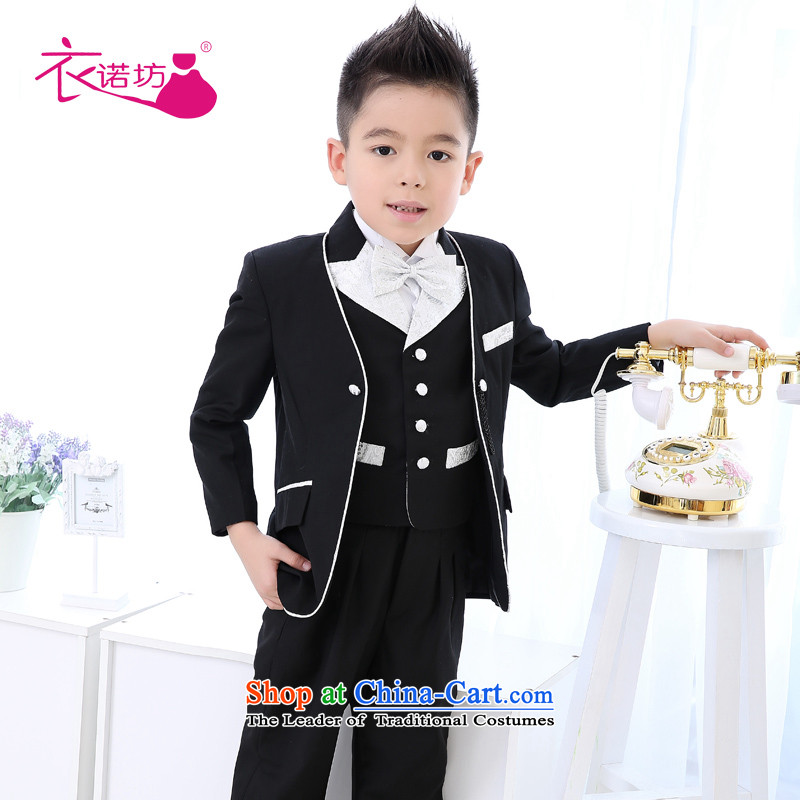 The workshop on yi Flower Girls dress boy children's classical lounge 5 piece silver trimming will fall in a small black suit,150