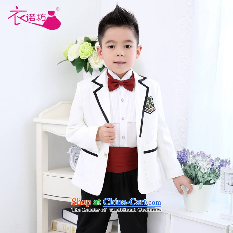 The workshop on yi Flower Girls dress boy small white suit kit flower girls and children's wear dresses Flower Girls dress Male dress autumn and winter, 5 Piece White聽140