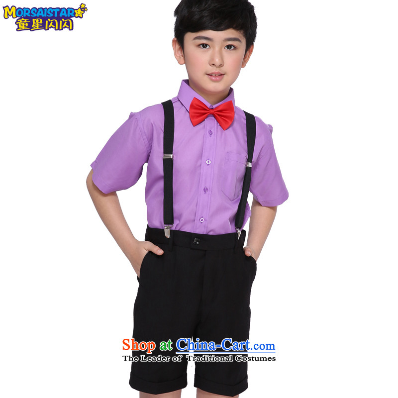 Child star shining flower girl children dress kit boy stage performances with 61 children's choral serving Korean black shorts + plain purple shirt 6 piece?150