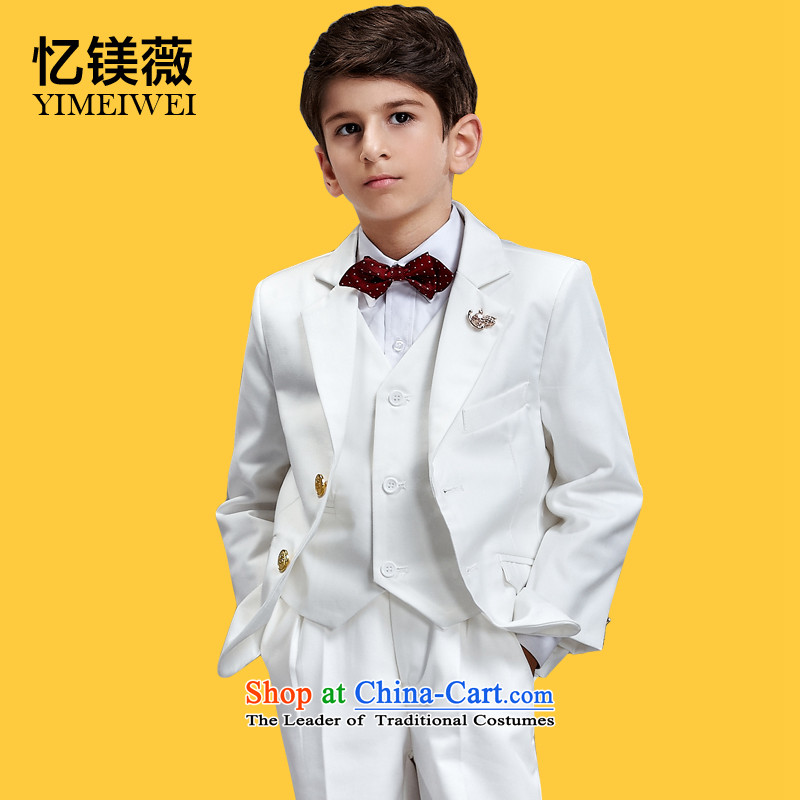 Recalling that the disarmament of children's wear small boy Vicki suits Flower Girls dress Korean children wedding celebration will boys suits high pure white suit145-155cm recommendation 14 Code