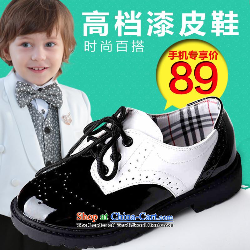 Recalling that disarmament Ms Audrey Eu Children shoes boy Flower Girls dress shoes low student shoes gentleman boy children shoesP2Black35 yards long 22cm
